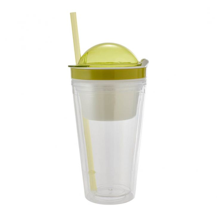 Double Wall Sipper 470 Ml Plastic Sippers in Transparent Bottle & Green Lid Colour by Living Essence
