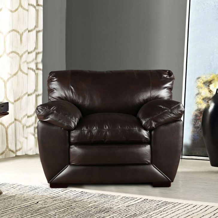 Lincoln Half Leather Single Seater sofa in Brown Colour by HomeTown