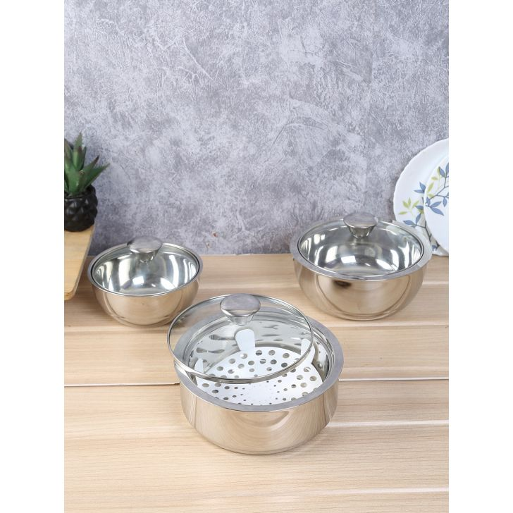 Sapphire Serving Steel Insulated Casserole Set Of 3 ( 500 Ml ,800 Ml ,1.2 Ltr ) With Glass Lid in Silver Colour