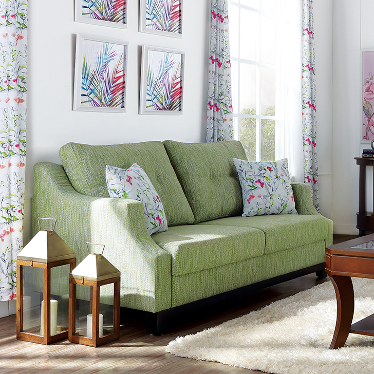 Tremblay Fabric Three Seater sofa in Lime Colour by HomeTown