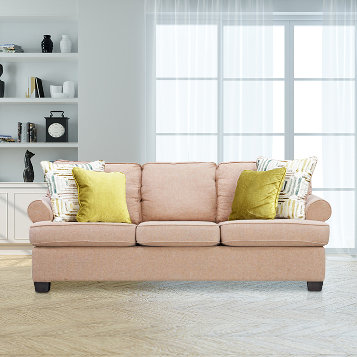 Cadence Fabric Three Seater Sofa in Brown Colour by HomeTown