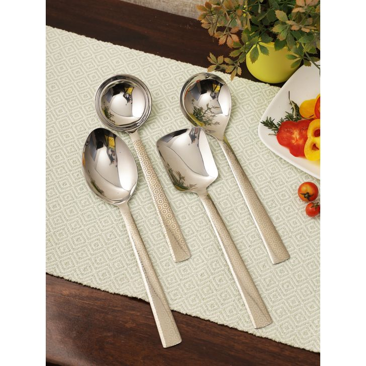 FNS Elite Stainless steel Serving Spoon Set of 4 in Silver Colour