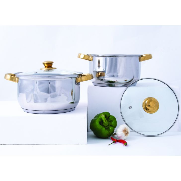 LE 4 Pc Ss Casserole Set With Gold Knob Stainless steel Casseroles in Silver & Gold Colour by Living Essence
