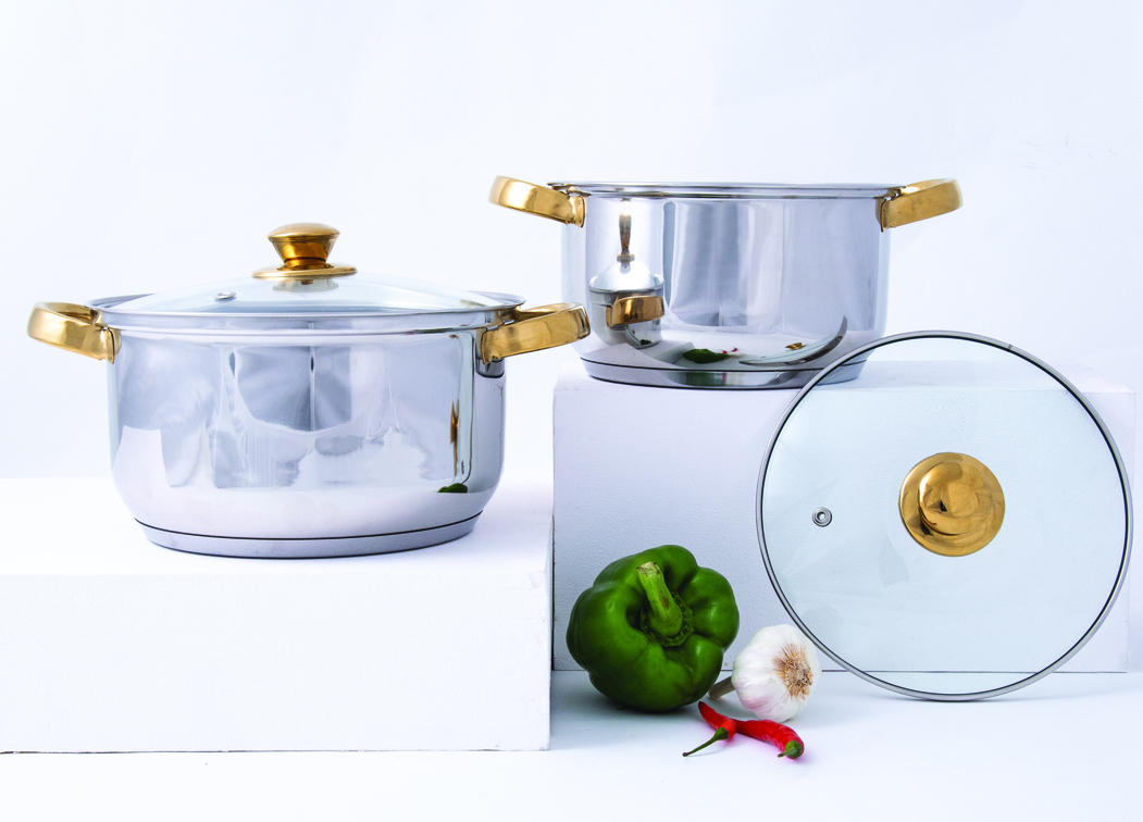 Stainless steel Casseroles in Silver & Gold Colour by Living Essence