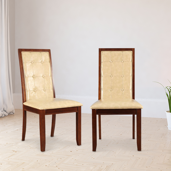 Athena Solid Wood Dining Chair Set of Two in Beige Colour by HomeTown
