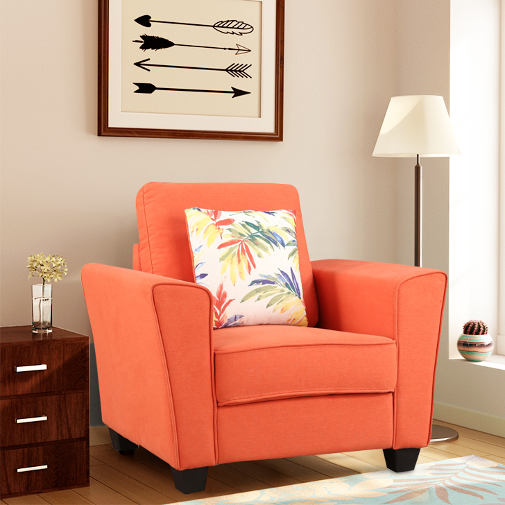 Rogers Fabric Single Seater Sofa in Rust Colour by HomeTown