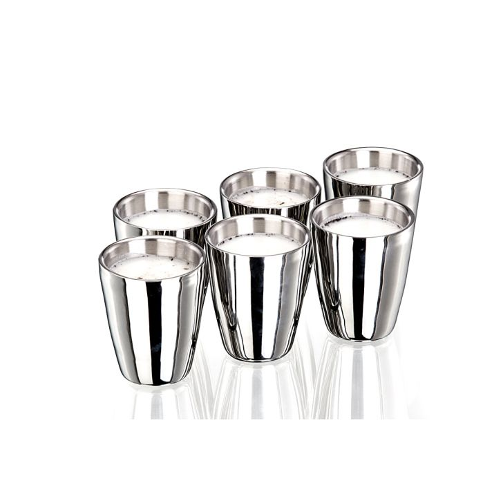 SK Set Of 6 Pcs.Double Wall tumbler Stainless steel Glasses & Tumblers in Mirror & Matt Colour by Living Essence
