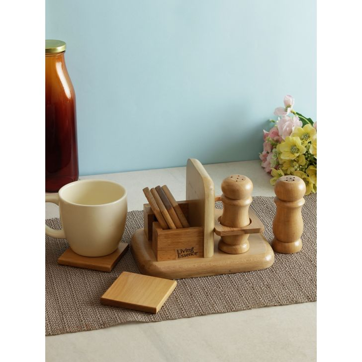 Living essence Wood Pepper stand in Brown Colour by Living Essence