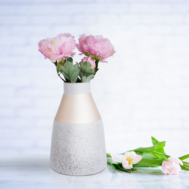 Novel Sand Tex Vase 32 Cm Grey Gold Bamboo Vases in Grey Gold Colour by Living Essence