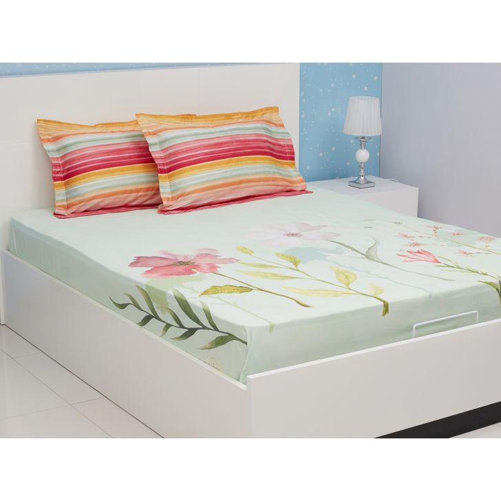 Nora Cotton Double Bedsheets in Sea Green Colour by Living Essence