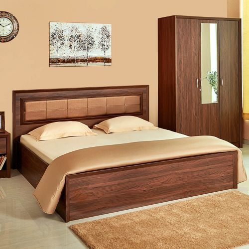 Queen Bed.Stark Engineered Wood Box Storage Queen Size Bed In Walnut Colour By Hometown