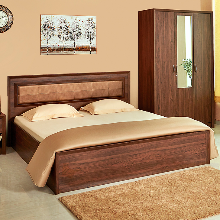Stark Engineered Wood Box Storage Queen Size Bed in Walnut Colour by HomeTown