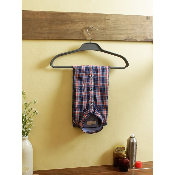 Rubber Coated Coat Hanger in Grey Colour by Living Essence