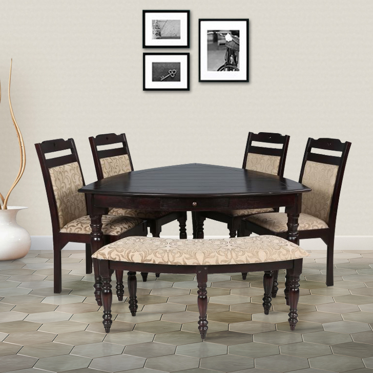 Baylor Solid Wood Six Seater Dining Set in Dark Expresso Color by HomeTown