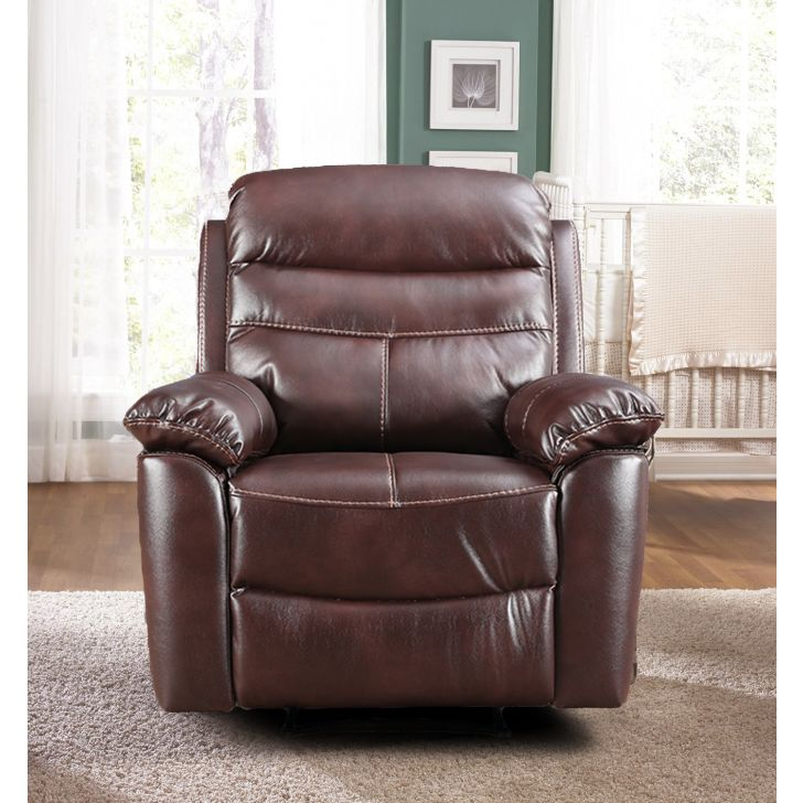 Logan Fabric Single Seater Recliner in Dark Brown Colour by HomeTown