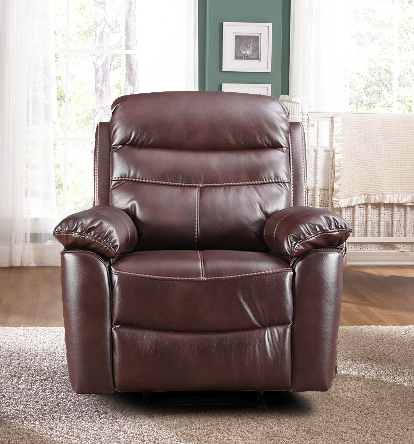 Logan Leather Fabric Single Seater Recliner in Dark Brown Colour by HomeTown