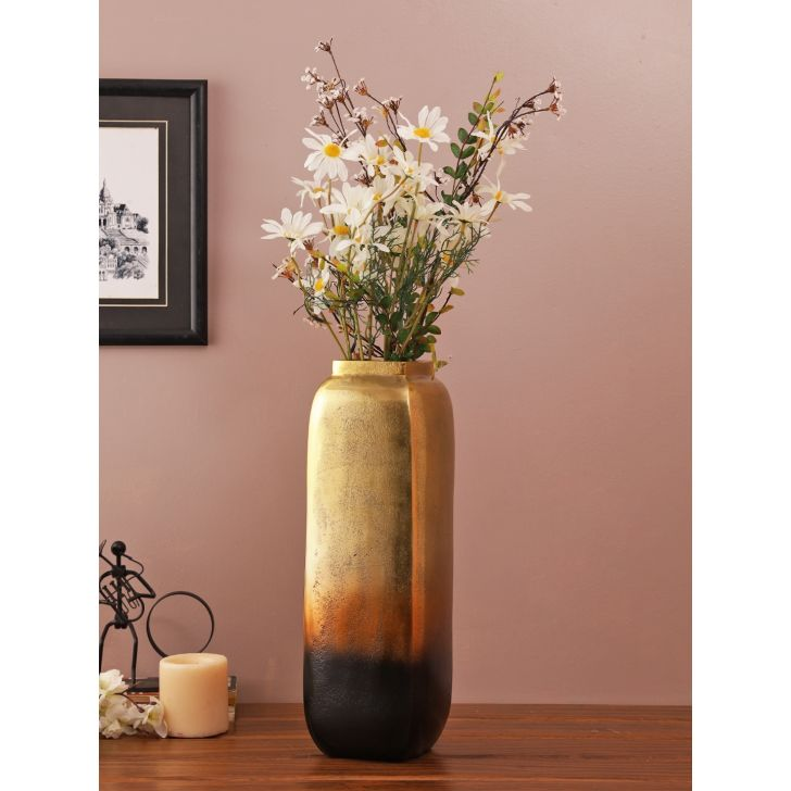 Jashn Square Metal Vases in Bronze Colour by Living Essence