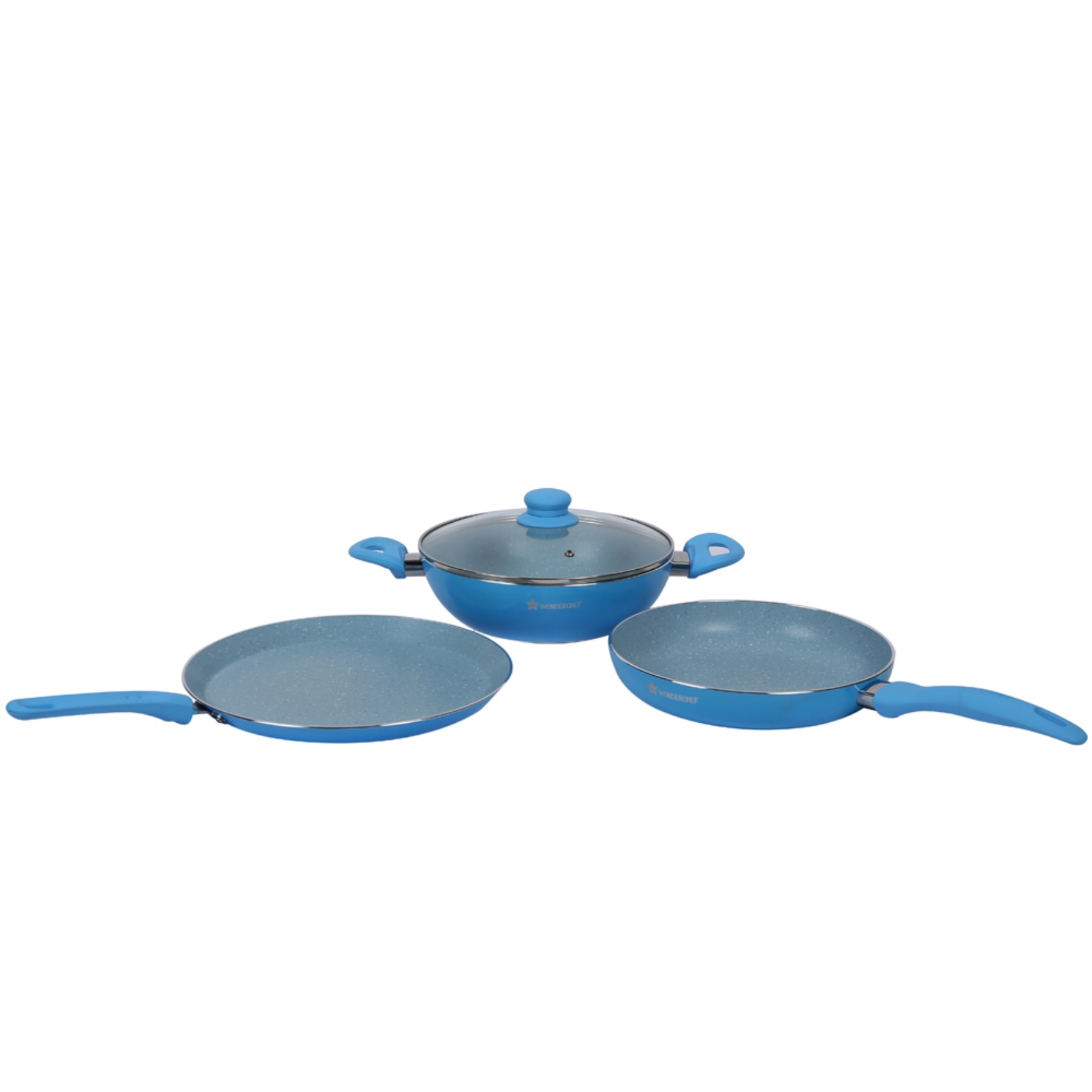 French Blossom Cookware Set Aluminium Cookware Sets in Blue Colour by Wonderchef