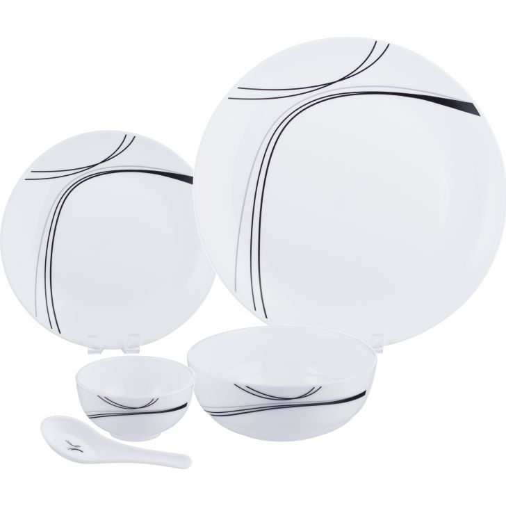 Opalware 33 Pcs Dinner Set in White Colour by Soogo