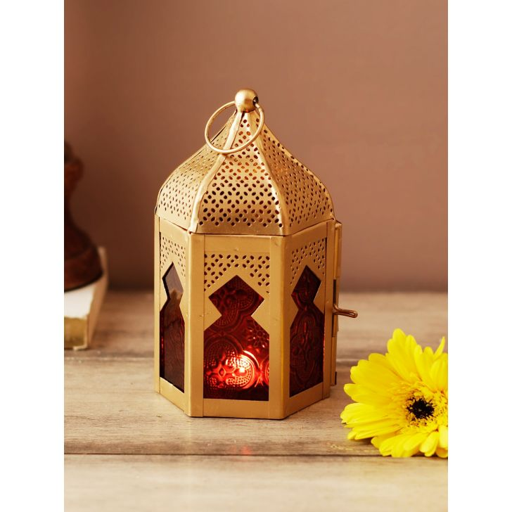 Allure Metal Candle Holders in Red Gold Colour by Living Essence