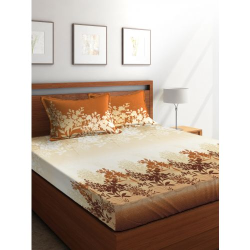 Buy Tangerine Cotton King Bed Sheets In Beige Yellow Colour By
