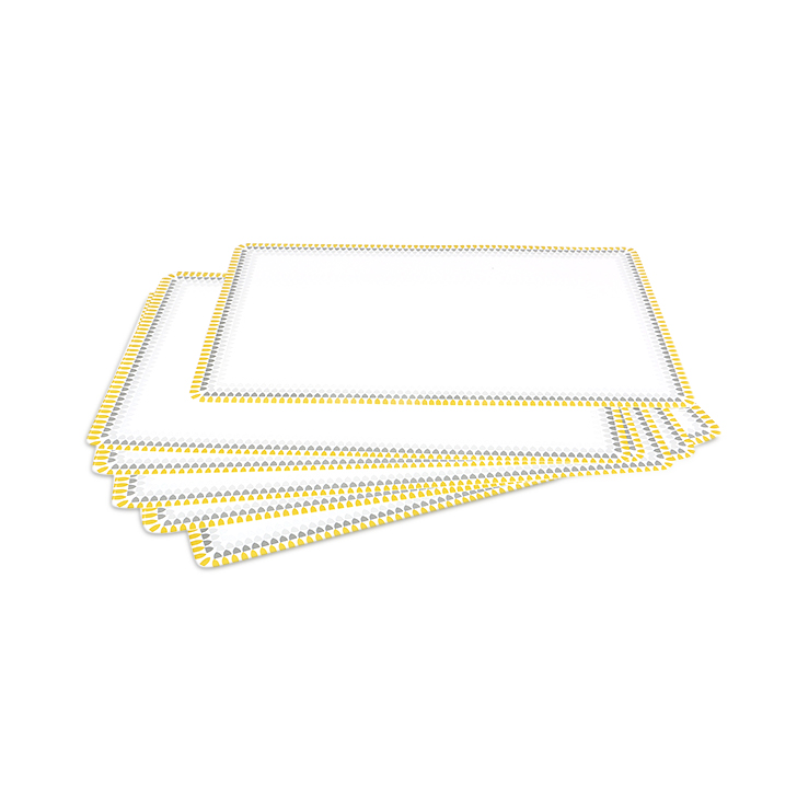 White And Yellow Table Mat Set 6 pcs Cotton Table Mats in White & Yellow Colour by Living Essence