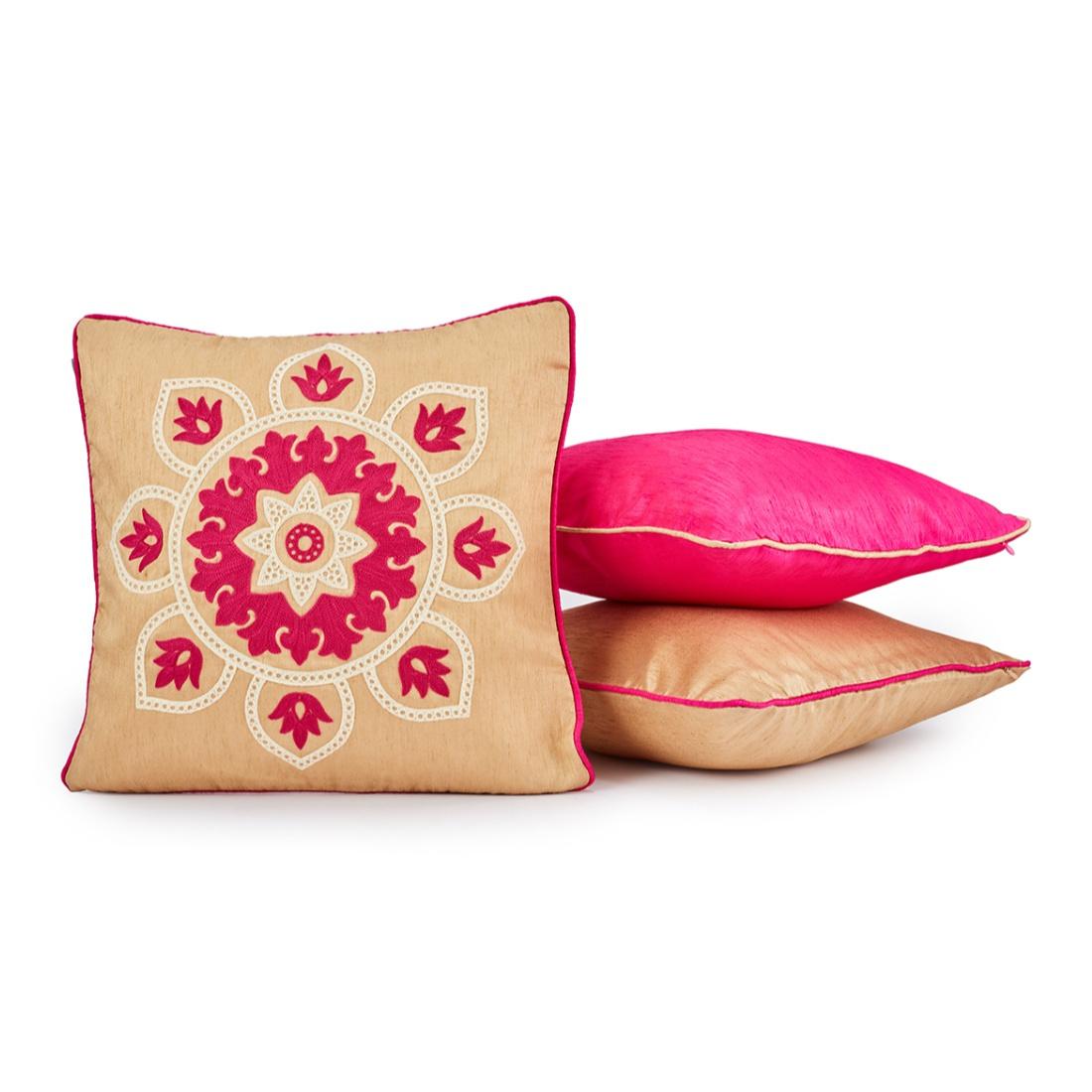 Fiesta Set Of 3 Cushion Covers Gold Polyester Cushion Cover Sets in Gold Colour by Living Essence