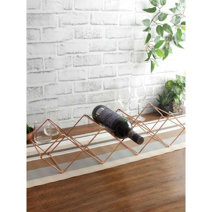 Chrome Steel Wine Rack in Rose Gold Colour by Living Essence