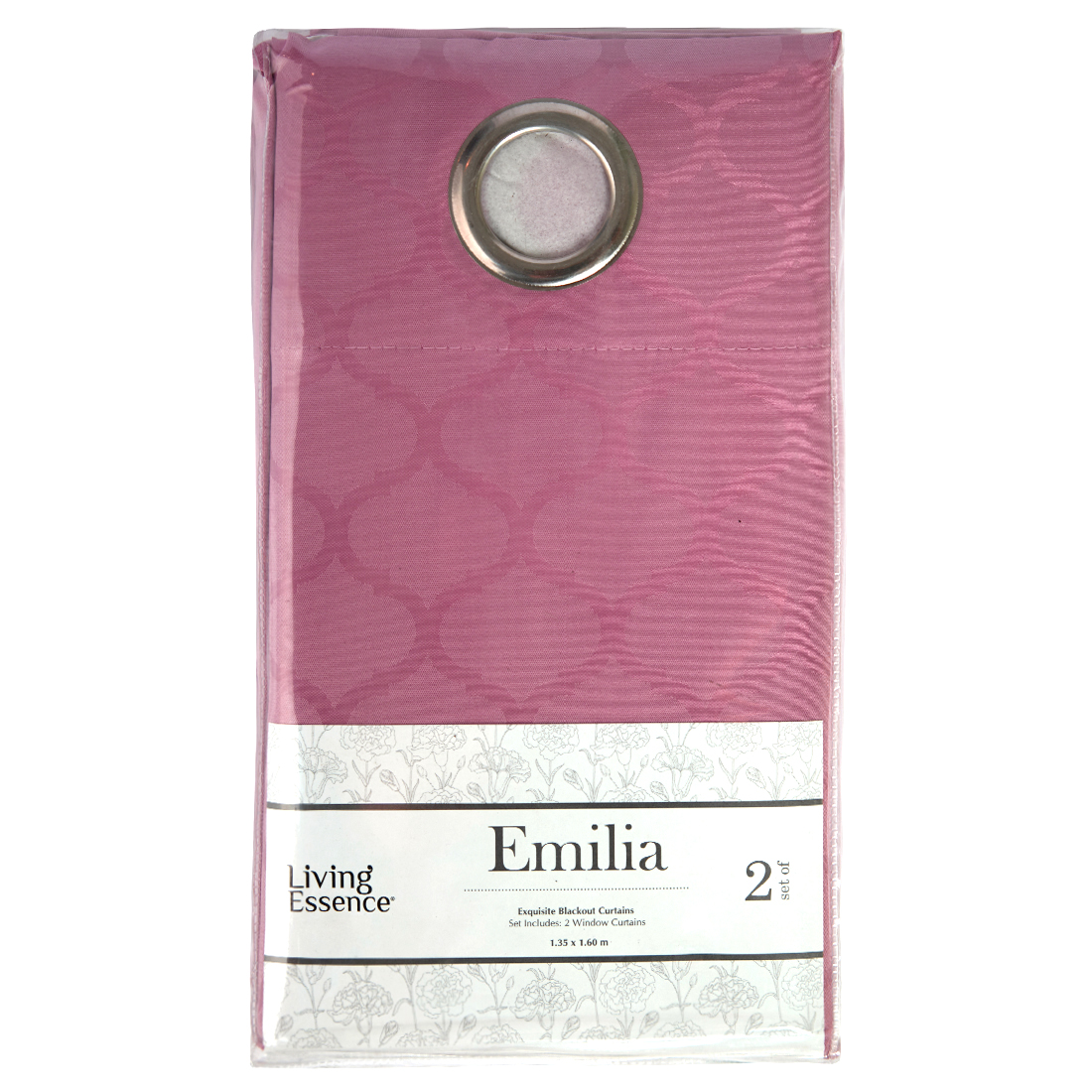 Emilia Jacquard Polyester Window Curtains in Rose Colour by Living Essence