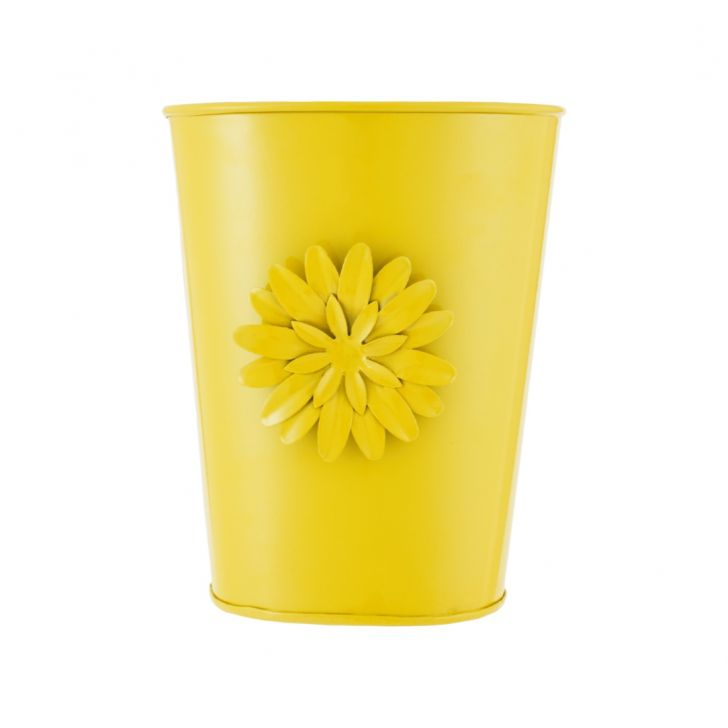 Aria Oval Planter With Brooch Yellow Metal Pots & Planters in Yellow Colour by Living Essence
