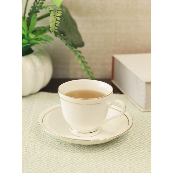 Avril Bone China Ceramic Cup & Saucer 150ml in White Colour by Living Essence