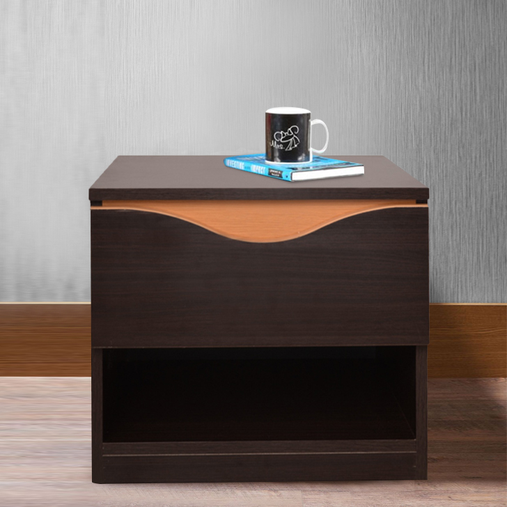 Swirl Engineered Wood Bedside Table in Wenge Colour by HomeTown