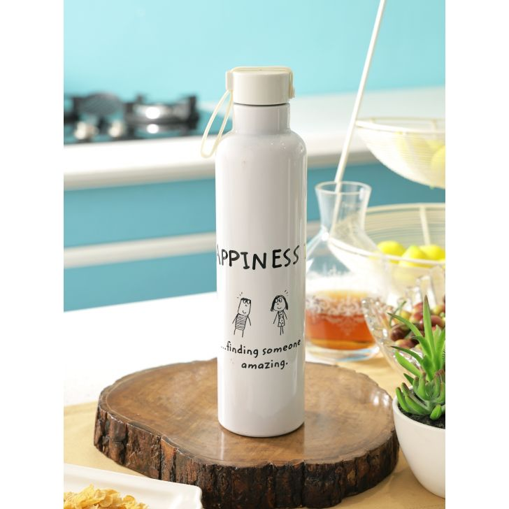 Happiness Slink Steel Bottle in White & Black Colour by Living Essence