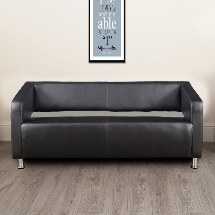 Arrow PVC Three Seater Office Sofa in Black Colour by HomeTown