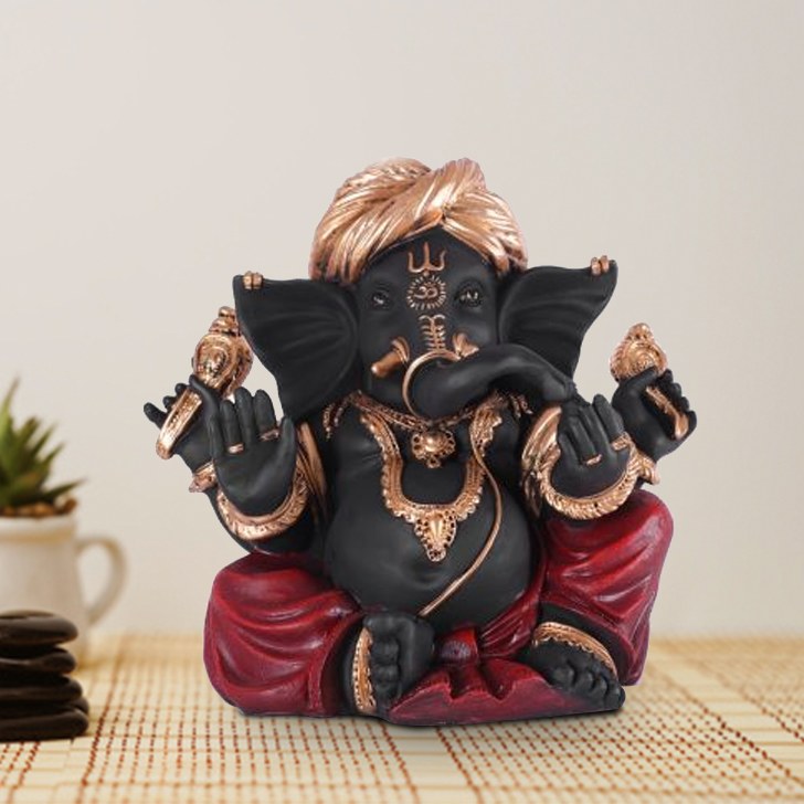 Fio Ganesha Large Polyresin Idols in Black-Red Colour by Living Essence