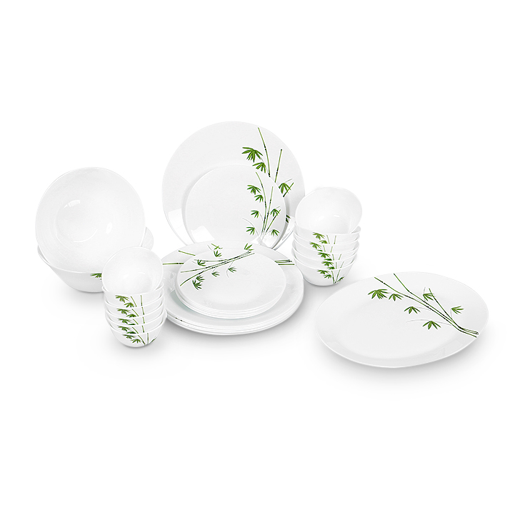Diva Green Foliage Ivory Set 27 Pcs Glass Dinner Sets in White & Green Colour by Diva