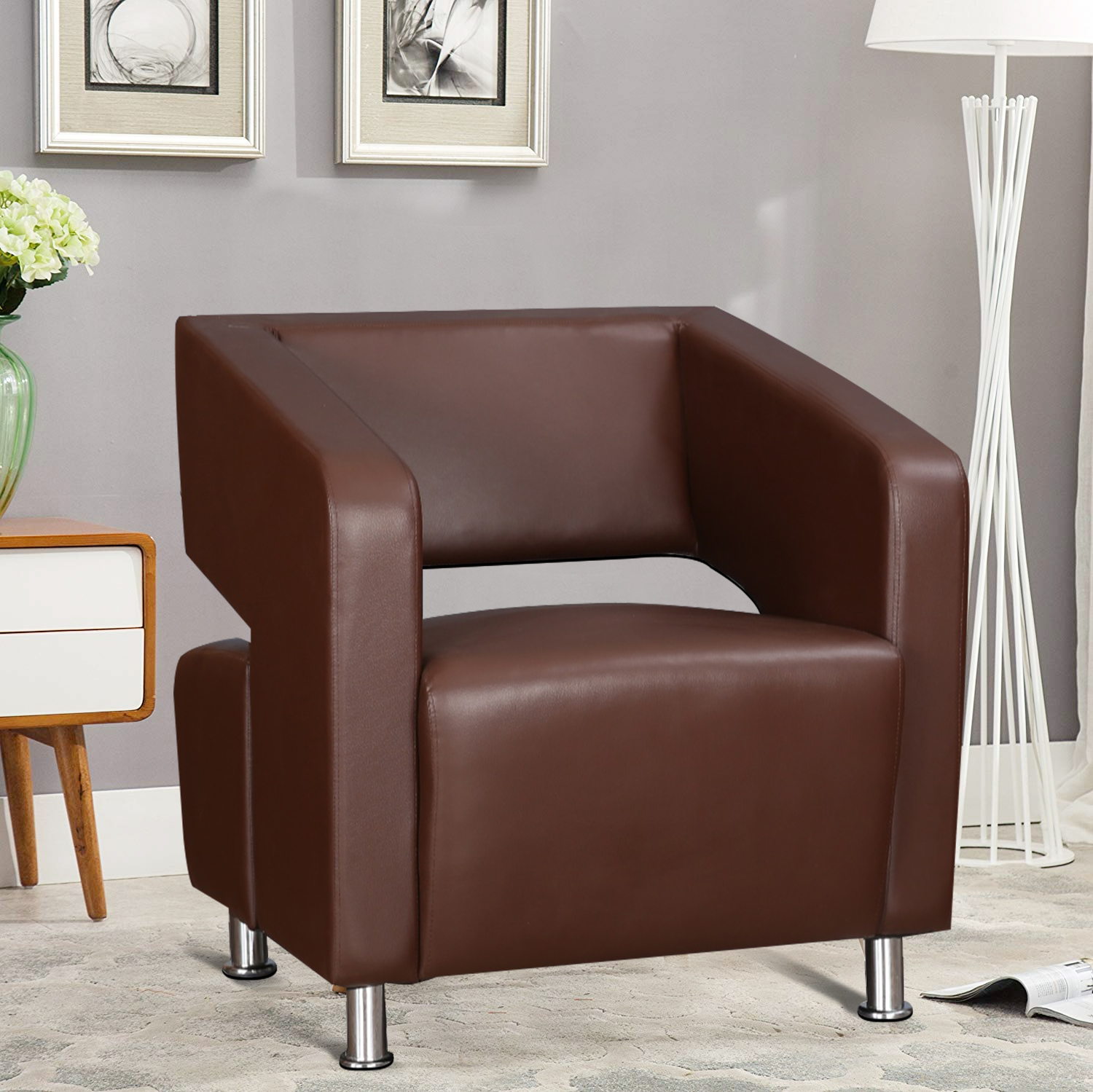 Arrow PVC Office Chair in Brown Colour by HomeTown