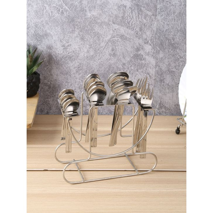 Fiesta Steel Cutlery Set Of 24 Pcs With Stand in Silver Colour