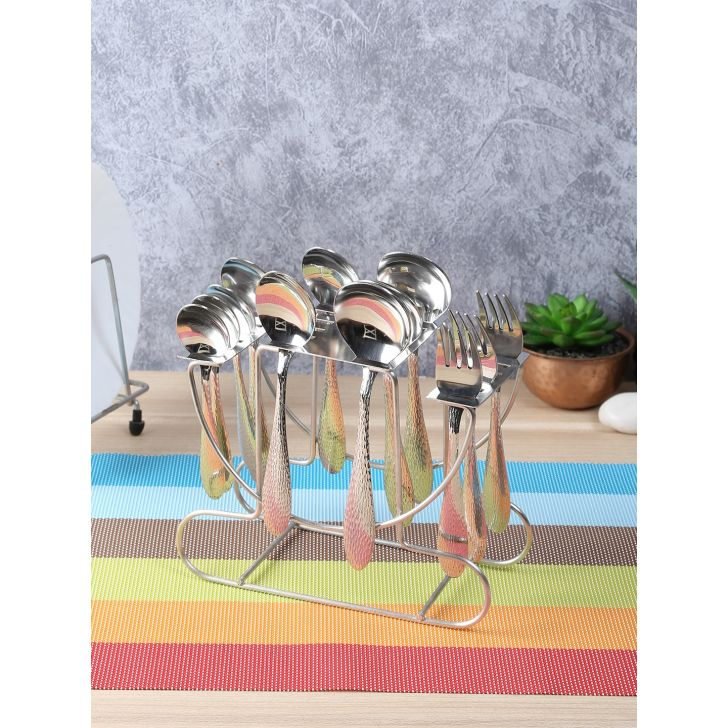 Living Essence Steel 24 pc Cutlery Set With Hanging Stand in Silver Colour by Living Essence