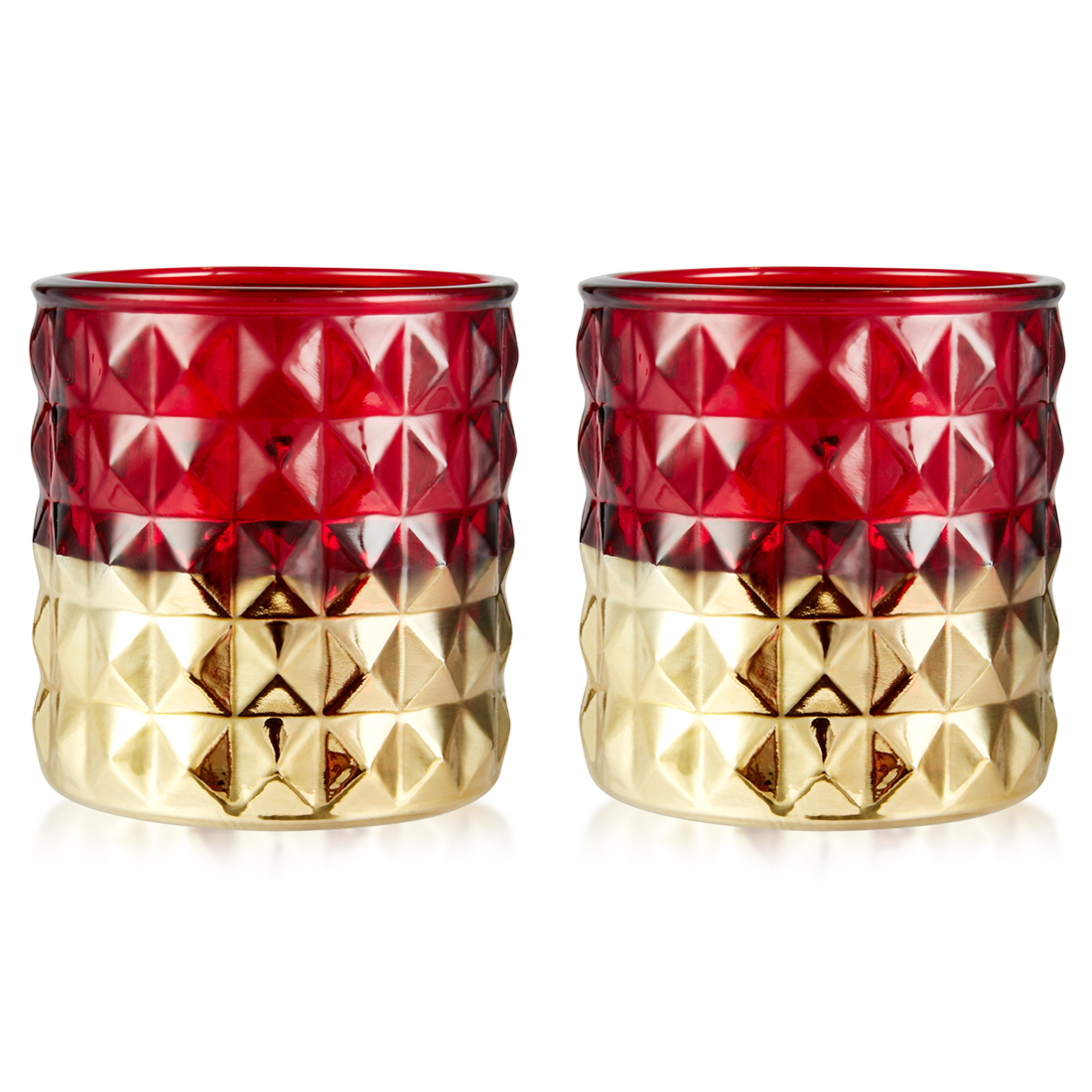 Meira Set Of Two Candle Holder With Geometric Pattern In Red Gold Candle Holders in Red Colour by Living Essence
