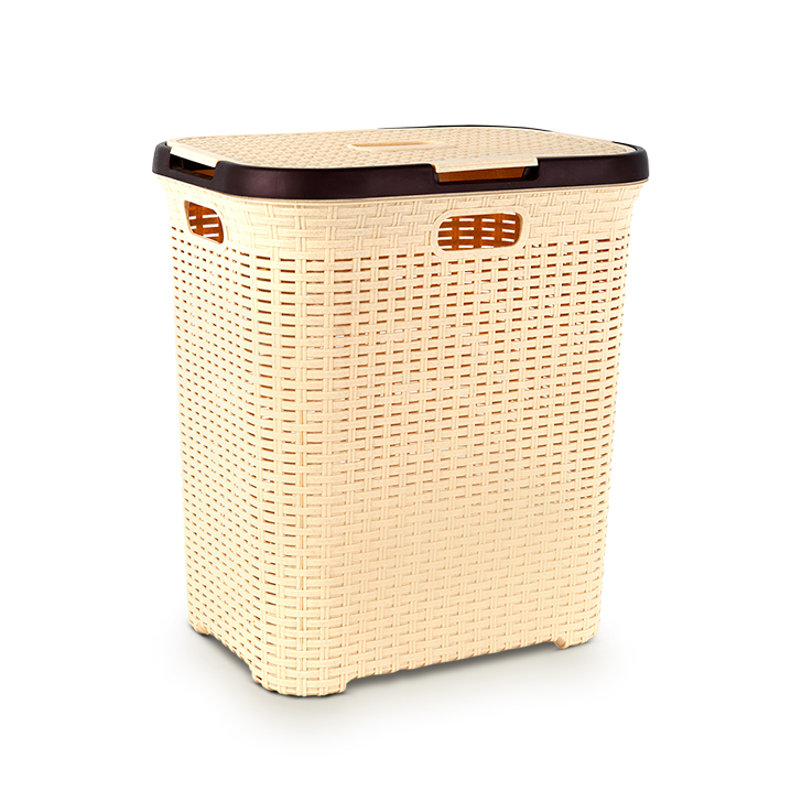 Living Essence Plastic Laundry Basket in Cream Colour by Living Essence
