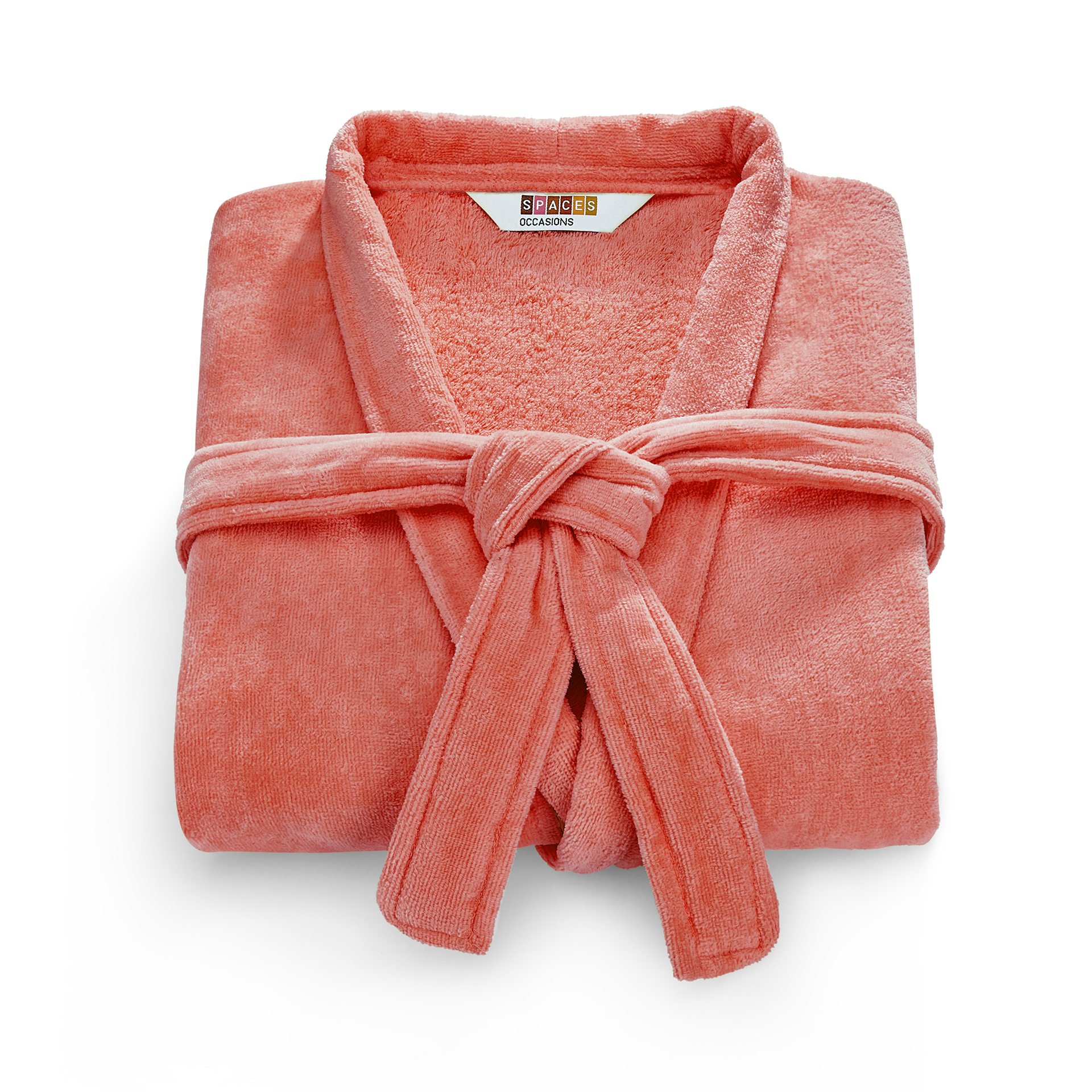 Spaces Allure Cotton Bath Robes in Coral-Navy Colour by Spaces