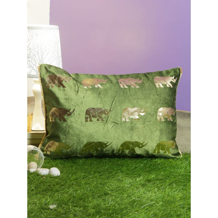 Rino Cotton Cushion Covers in Emerald Colour by Living Essence
