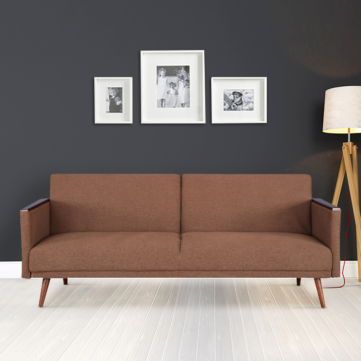 Walter Fabric Sofa Cum Bed in Brown Colour by HomeTown