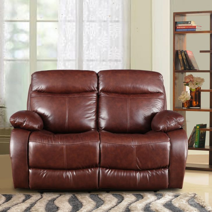 Dublin Half Leather Two Seater Electric Recliner in Brown Colour by HomeTown