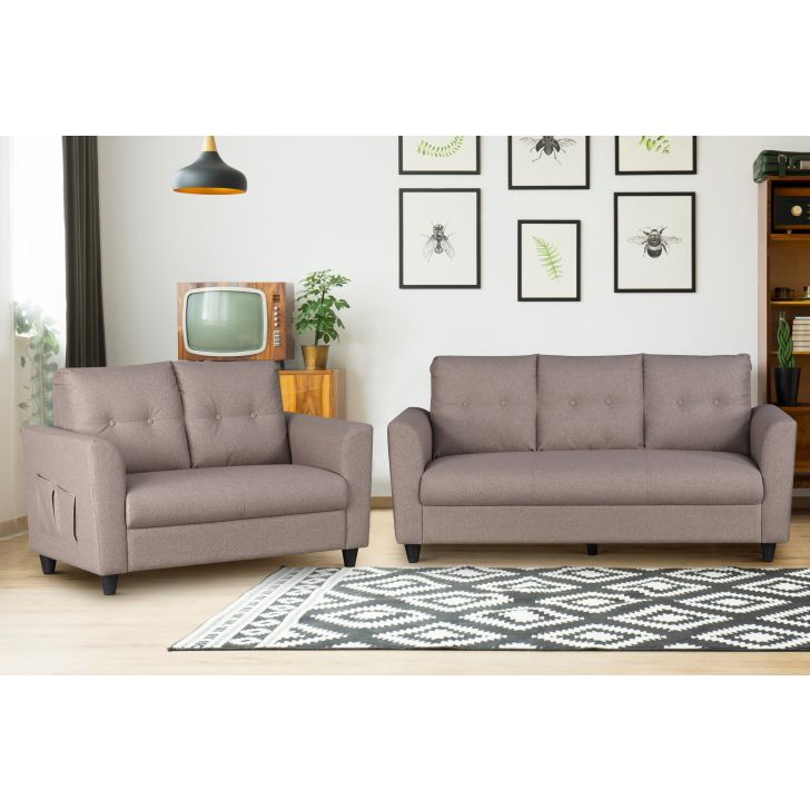 Paula Fabric Three Seater + Two Seater Sofa Set in Dark Brown Colour by HomeTown