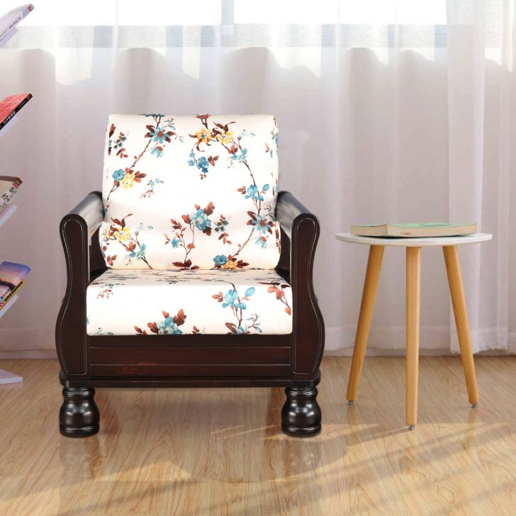 Clyde Solid Wood Single Seater Sofa in Floral Colour by HomeTown