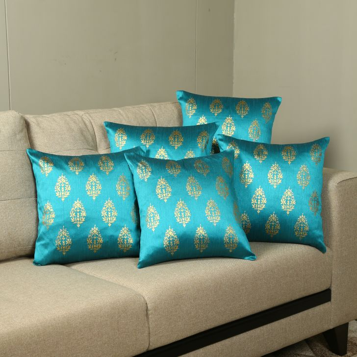 Carnival Dupion Set Of 5 Cushion Covers in Teal Colour