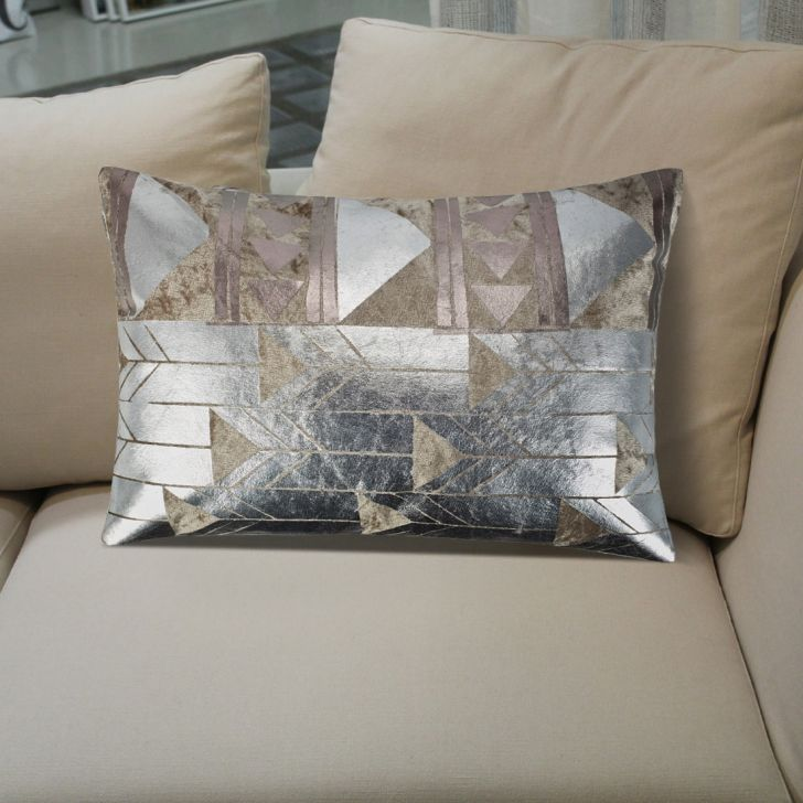Modern Geometric Cotton Cushion Covers in Grey Colour by Living Essence