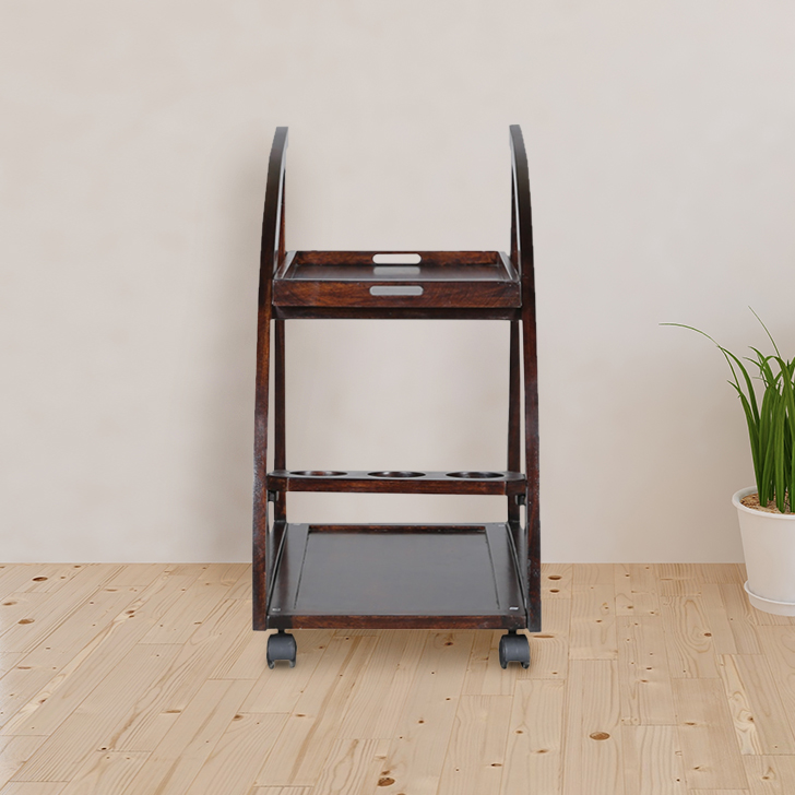 Acer Solid Wood Serving Trolley in Rich Brown Colour by HomeTown